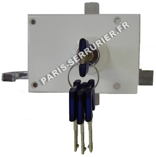 Serrure Bricard Chifral 3 points horizontale tirage droite A2P blanche