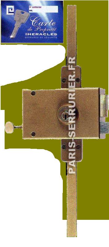 Serrure Héraclès 3 points type Keso horizontale tirage droite